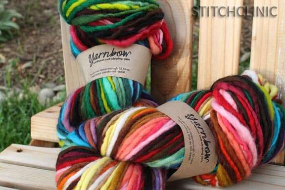 YarnBow self striping yarn by folktale fibers.