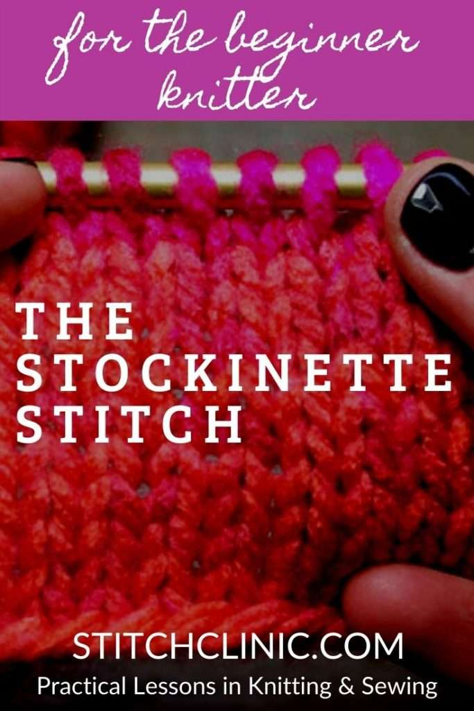 hands holding up a piece of stockinette stitch knitting