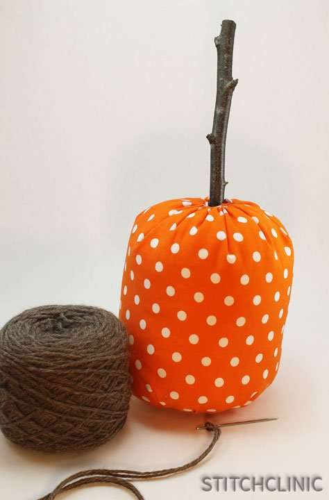 Yarn picked out for finishing the fabric pumpkin