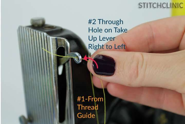 Take up lever threading the sewing machine - featherweight