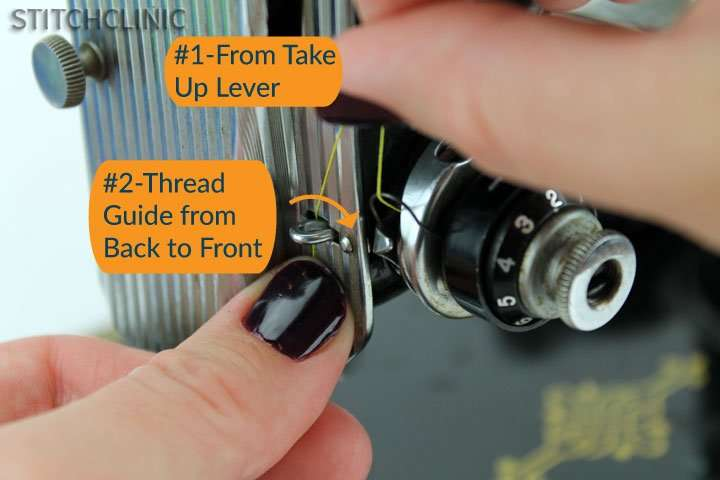 another thread guide after the take up lever on the featherweight sewing machine thread path