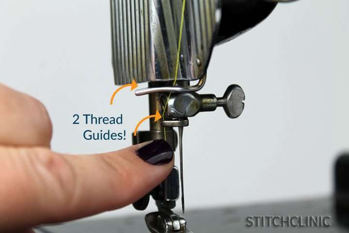 Last two thread guides before the needle featherweight singer sewing machine