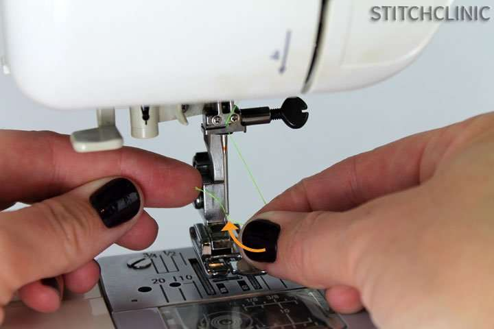 threading the needle of a janome sewing machine