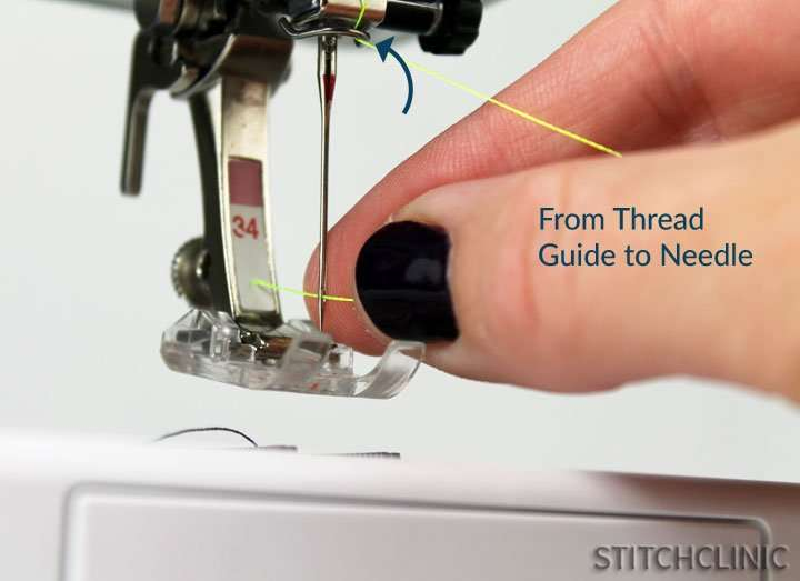 Theading a needle on a sewing machine