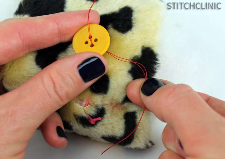 Holding the button where you want it to be sewn